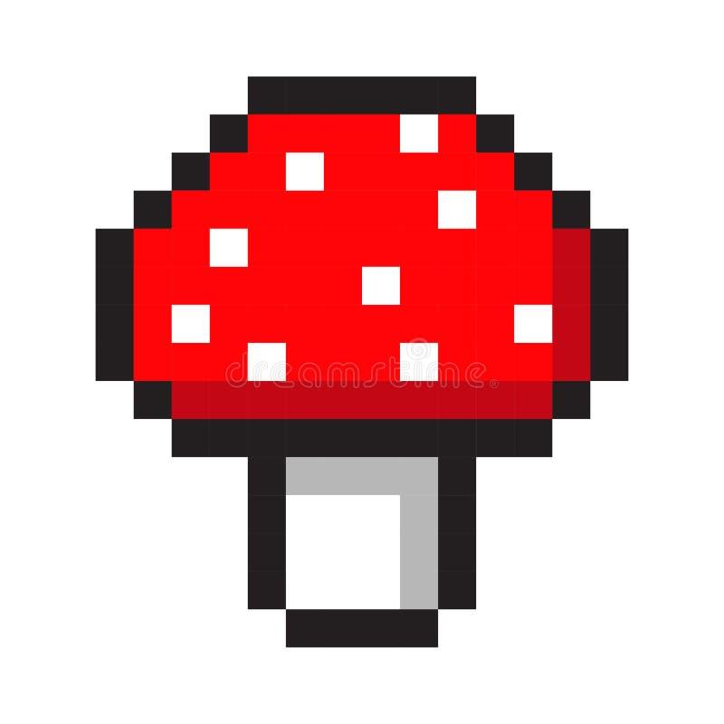 Ensemble de style de jeu de bande dessinée de champignon d'amanite d'art de pixel rétro illustration libre de droits