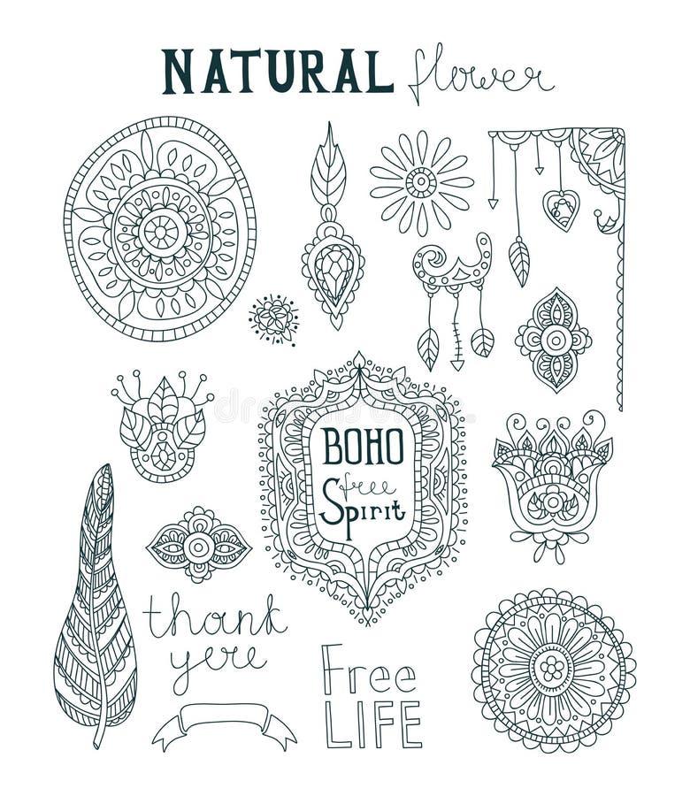 Ensemble de style ornemental de Boho Les fleurs, plumes, part Plumes d'oiseau cru illustration libre de droits