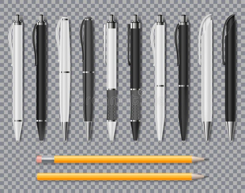 Ensemble de stylos élégants et de crayon de bureau réaliste d'isolement sur le fond transparent Boule blanche de bureau et noire  illustration stock