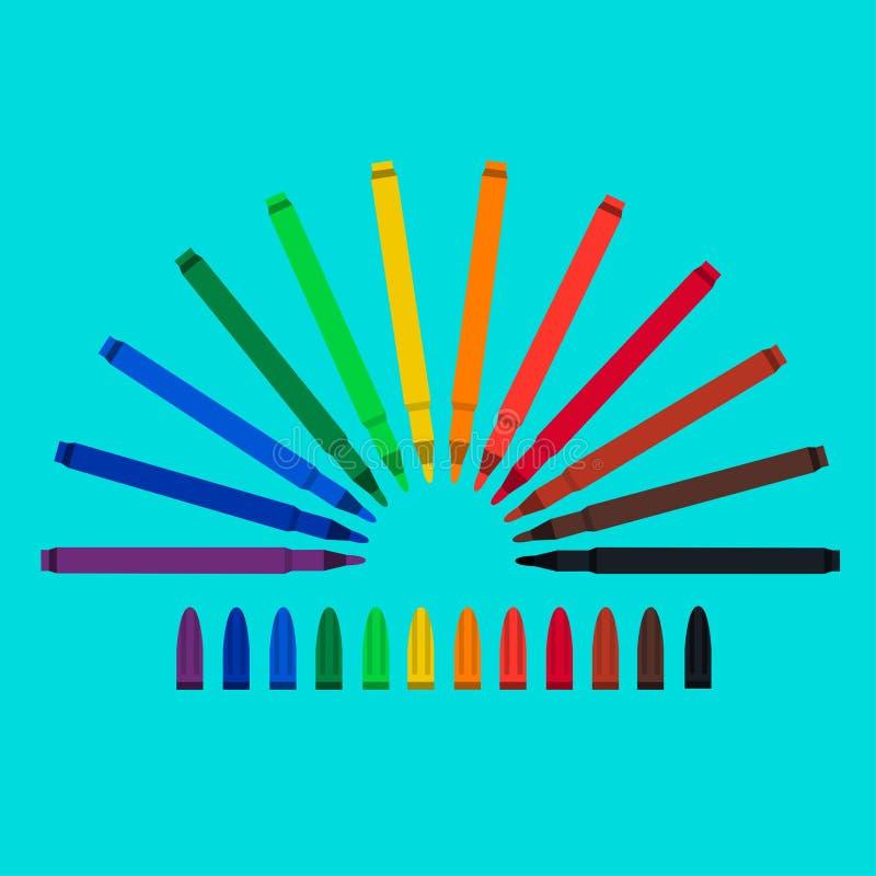 Ensemble de stylos feutres, rouge, vert, jaune, pourpre, brun, noir, biscuit, orange, chlore, bleu, mazarine Lumière du vecteur a illustration stock