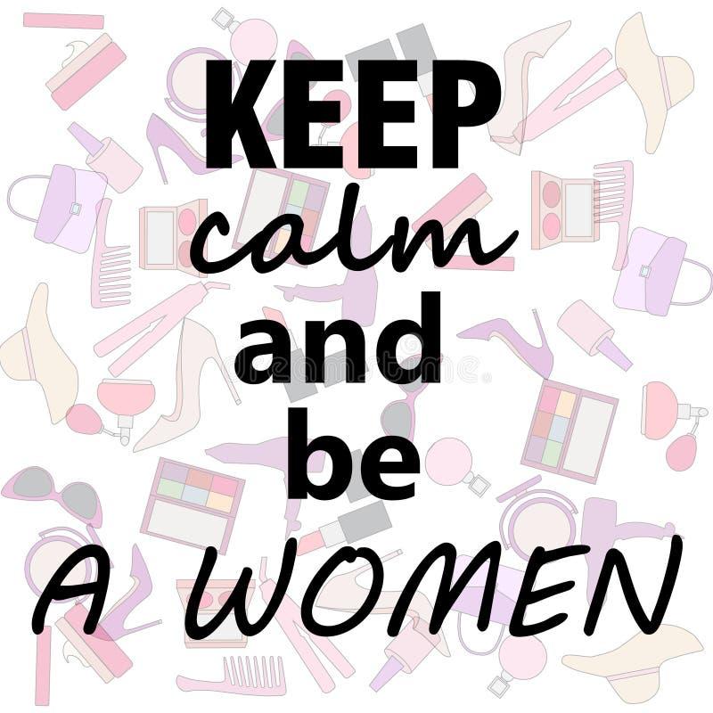 Ensemble de substance de femme : gardez le calme et soyez des femmes illustration libre de droits