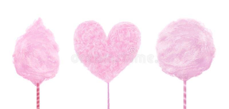 Ensemble de sucrerie de coton douce délicieuse rose d'isolement sur le fond blanc Nourriture à la mode d'été de concept photo libre de droits