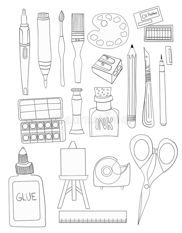 Ensemble de suffisance blanche d'Art Supplies Line Art Illustrations tirée par la main illustration libre de droits