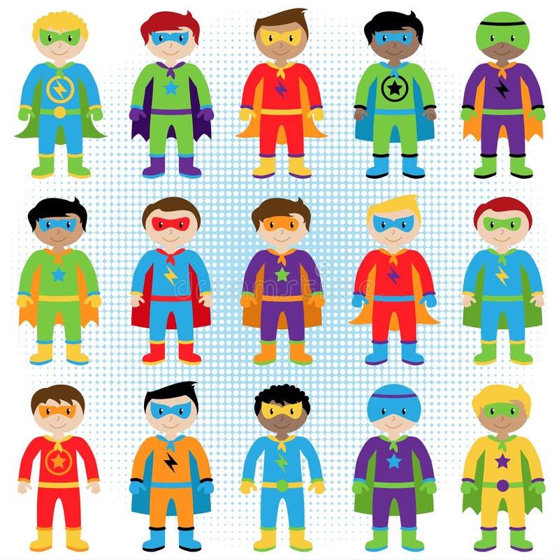 Ensemble de super héros de garçon dans le format de vecteur illustration libre de droits