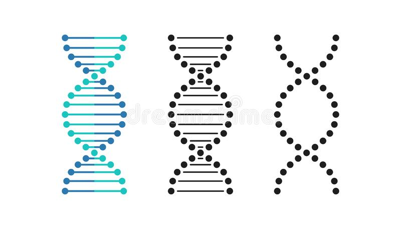 Ensemble de symbole de brin d'abrégé sur ADN Illustration de vecteur illustration de vecteur
