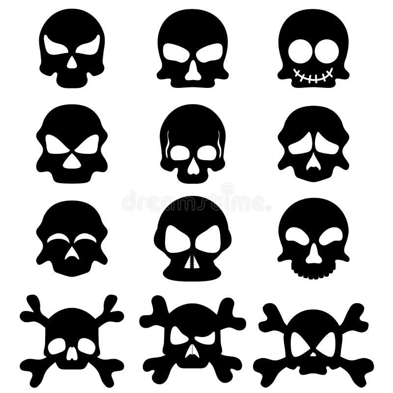 Ensemble de symbole de crâne illustration de vecteur