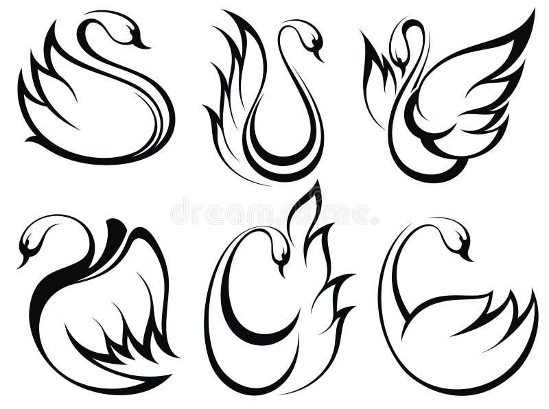Ensemble de symbole de cygne illustration stock