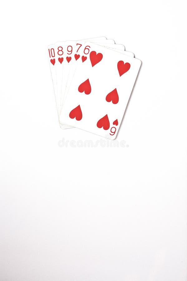 Ensemble de symbole de rangs de main de poker jouant des cartes dans le casino : flux droit sur le fond blanc, abrégé sur chance, image stock