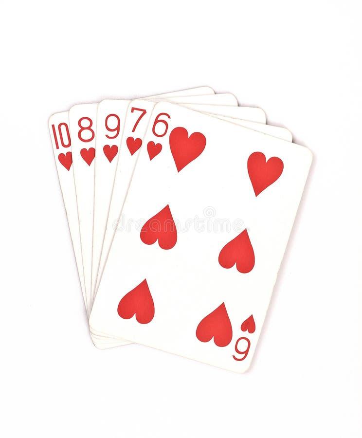 Ensemble de symbole de rangs de main de poker jouant des cartes dans le casino : flux droit sur le fond blanc, abrégé sur chance, photographie stock