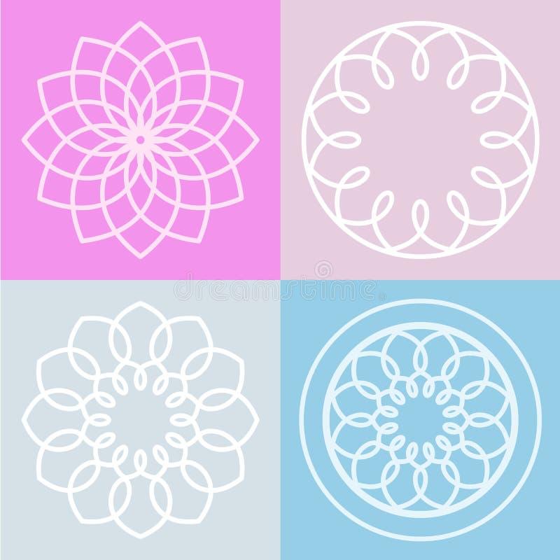 Ensemble de symbole et de fond de fleur de lotus Ligne illustrat de vecteur illustration stock