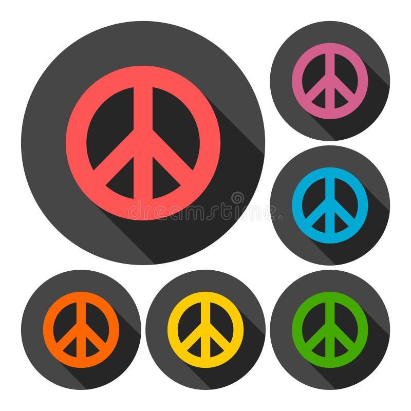 Ensemble de symbole hippie de paix avec la longue ombre illustration de vecteur