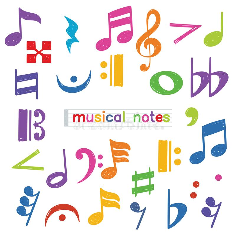 Ensemble de symbole de note musicale de griffonnage illustration stock
