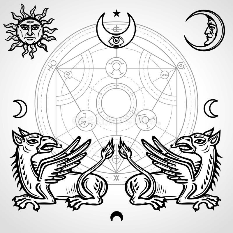 Ensemble de symboles alchimiques : deux griffons mythiques, cercle alchimique, emblèmes du soleil et lune, oeil de providence illustration libre de droits