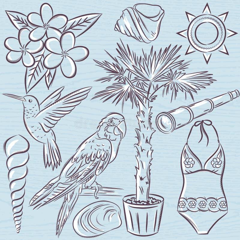 Ensemble de symboles d'été, costume de bain, perroquet, colibri, tre de paume illustration libre de droits