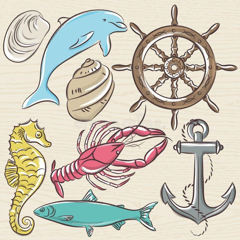 Ensemble de symboles d'été, gouvernail de direction de bateau, ancre, coquilles, homard, dolp illustration stock