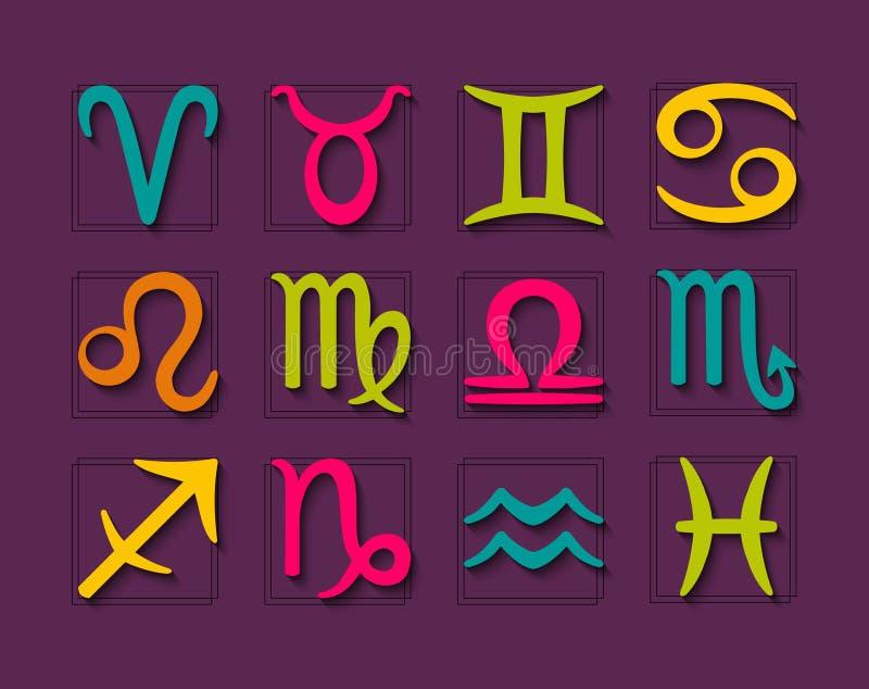 Ensemble de symboles d'horoscope de zodiaque illustration de vecteur