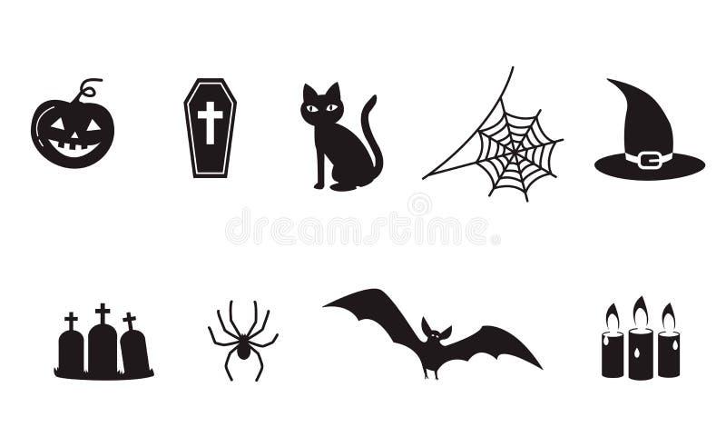 Ensemble de symboles d'icône de Halloween, araignée, Web, batte de vampire fantasmagorique, illustration libre de droits