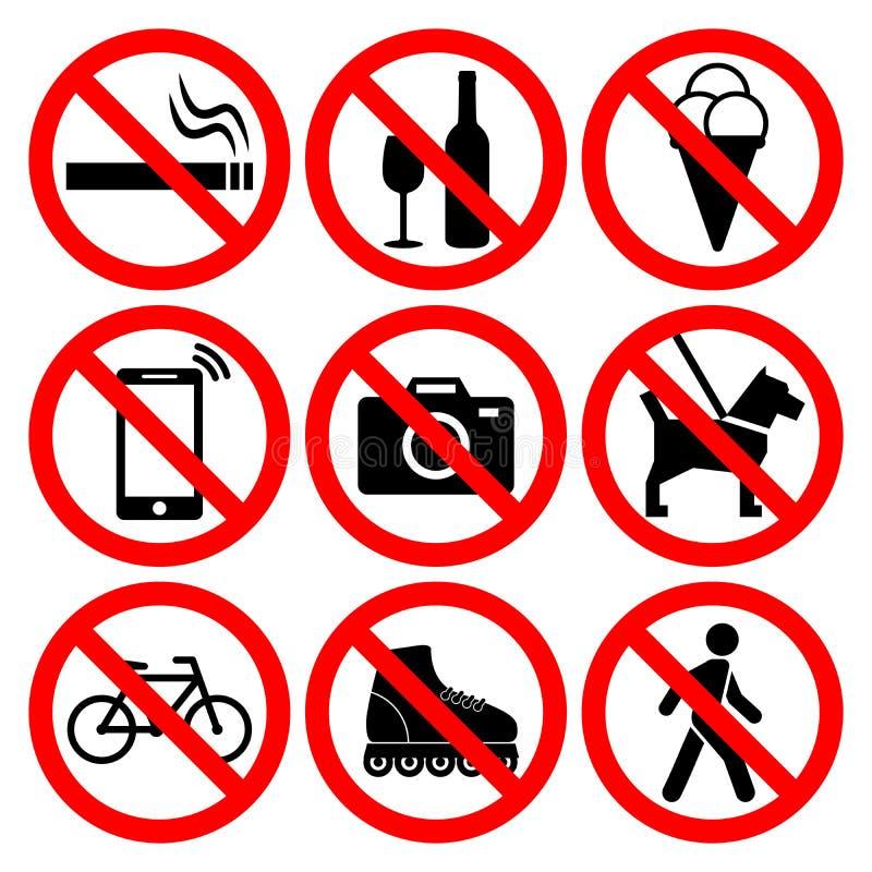 Ensemble de symboles d'interdiction illustration stock