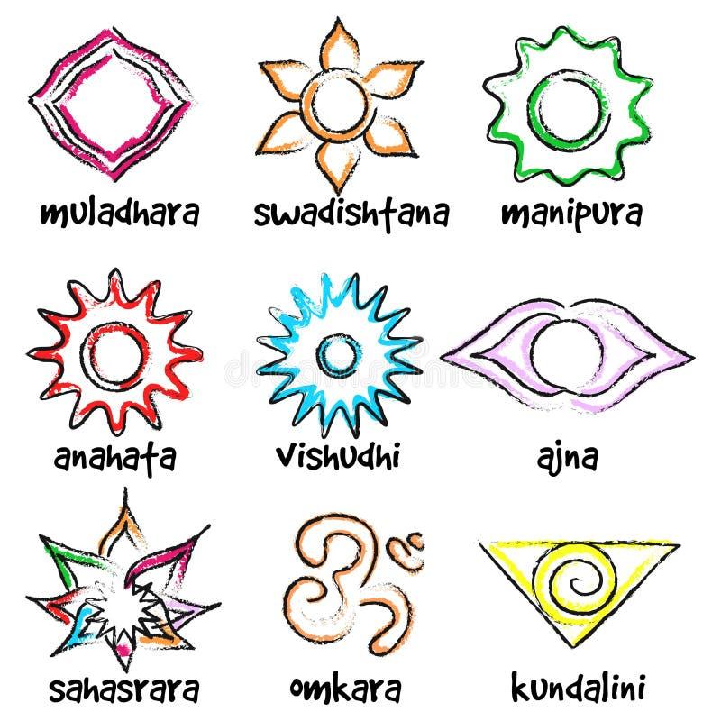 Ensemble de symboles de chakras illustration libre de droits