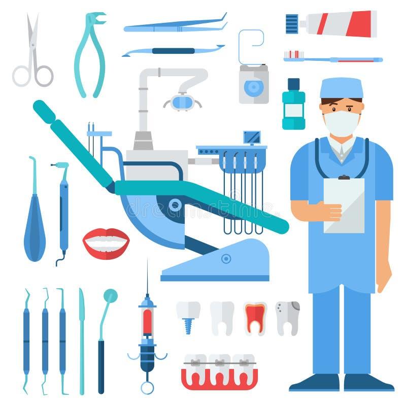 Ensemble de symboles de dentiste illustration de vecteur