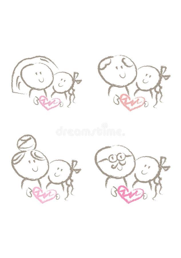 Ensemble de symboles de famille illustration stock