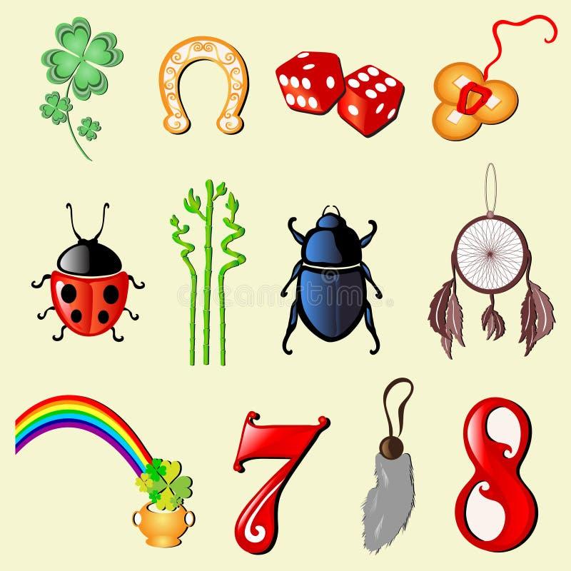 ensemble de 12 symboles de la chance illustration de vecteur illustration du bambou tr fle. Black Bedroom Furniture Sets. Home Design Ideas