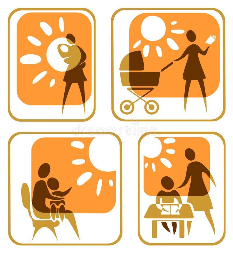 Ensemble de symboles de maternité illustration libre de droits