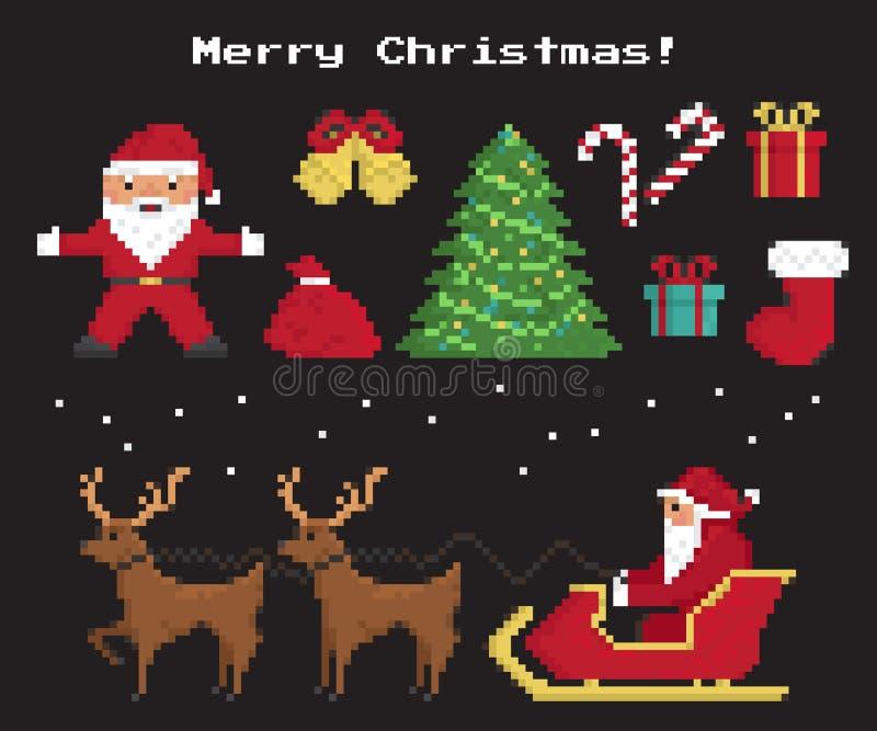 Ensemble de symboles de Noël de pixel illustration libre de droits