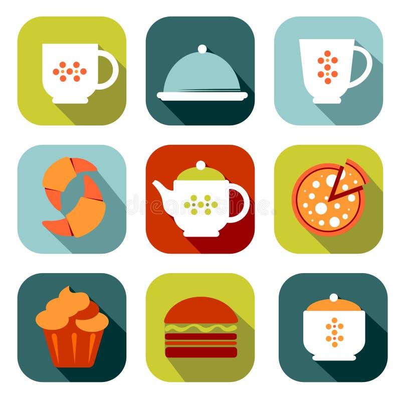 Ensemble de symboles de nourriture illustration de vecteur