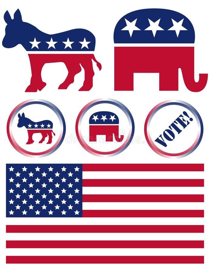 Ensemble de symboles de réception politique des Etats-Unis illustration libre de droits