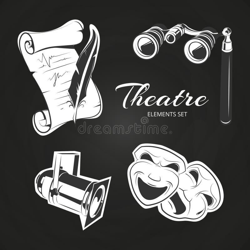 Ensemble de symboles de théâtre sur le tableau illustration de vecteur