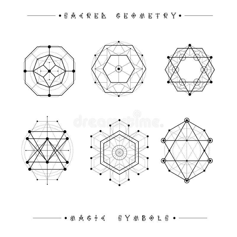Ensemble de symboles et d'éléments Alchimie, religion, philosophie, spiritualité, symboles de hippie et éléments Formes géométriq photographie stock