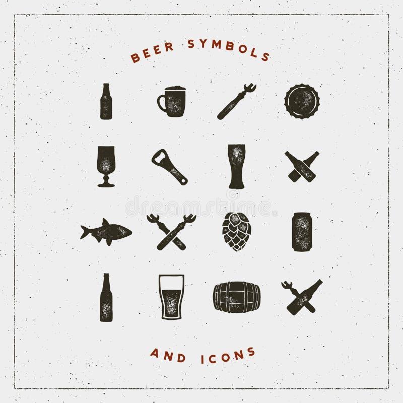 Ensemble de symboles et d'icônes de bière avec l'effet d'impression typographique Illustration de vecteur illustration stock