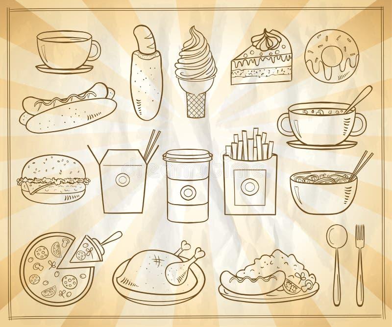 Ensemble de symboles graphiques assorti de nourriture et de boissons illustration stock
