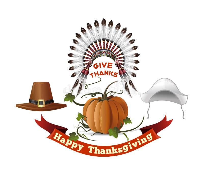 Ensemble de symboles de jour de thanksgiving illustration libre de droits