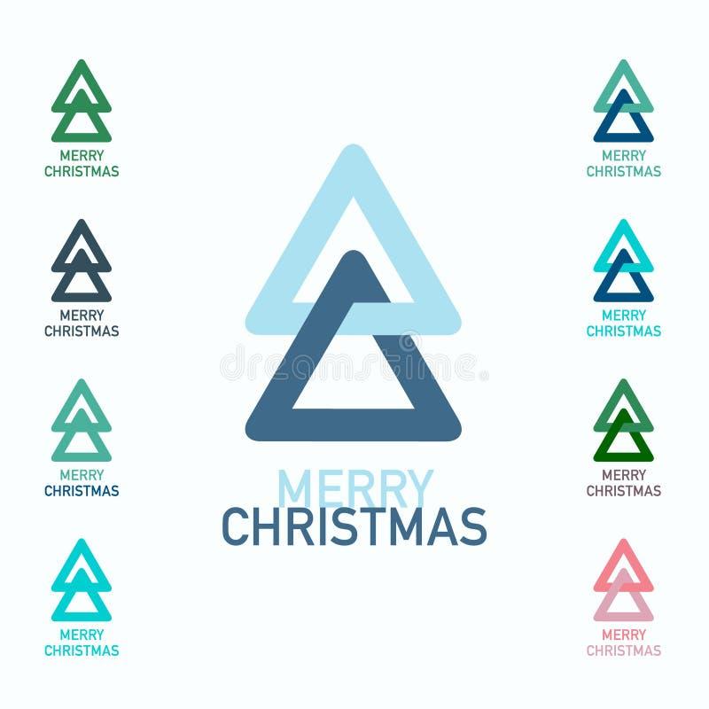 Ensemble de symboles de Joyeux Noël Arbres de Noël illustration stock