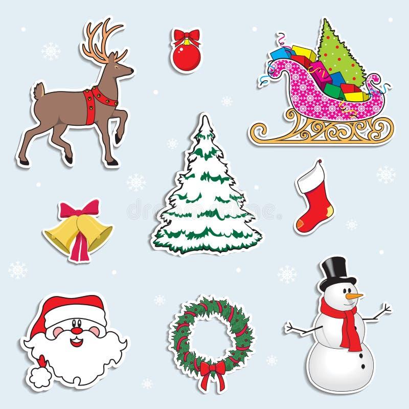 Ensemble de symboles de Noël Cerfs communs, arbre de Noël, bonhomme de neige, Santa Claus, cadeaux Illustration de vecteur de des illustration stock