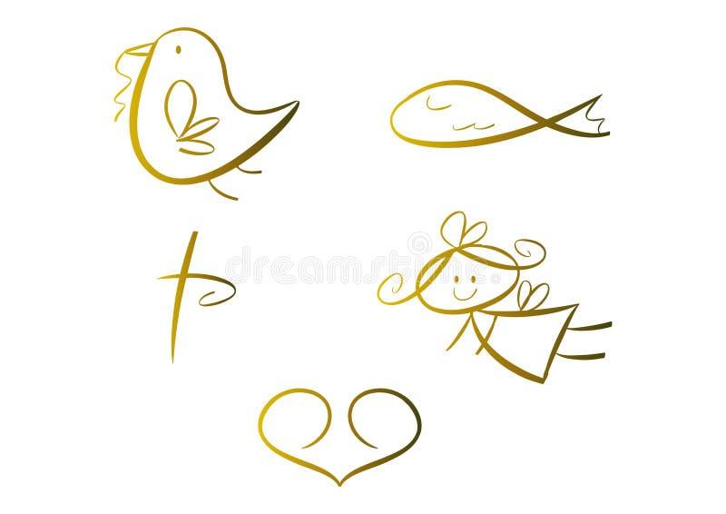 Ensemble de symboles religieux (pour des gosses) illustration libre de droits