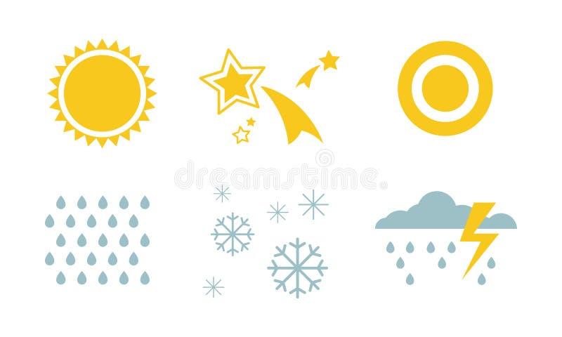 Ensemble de symboles de temps et de nature, le soleil, étoile, neige, pluie, orage, illustration de vecteur de nuage sur un fond  illustration libre de droits