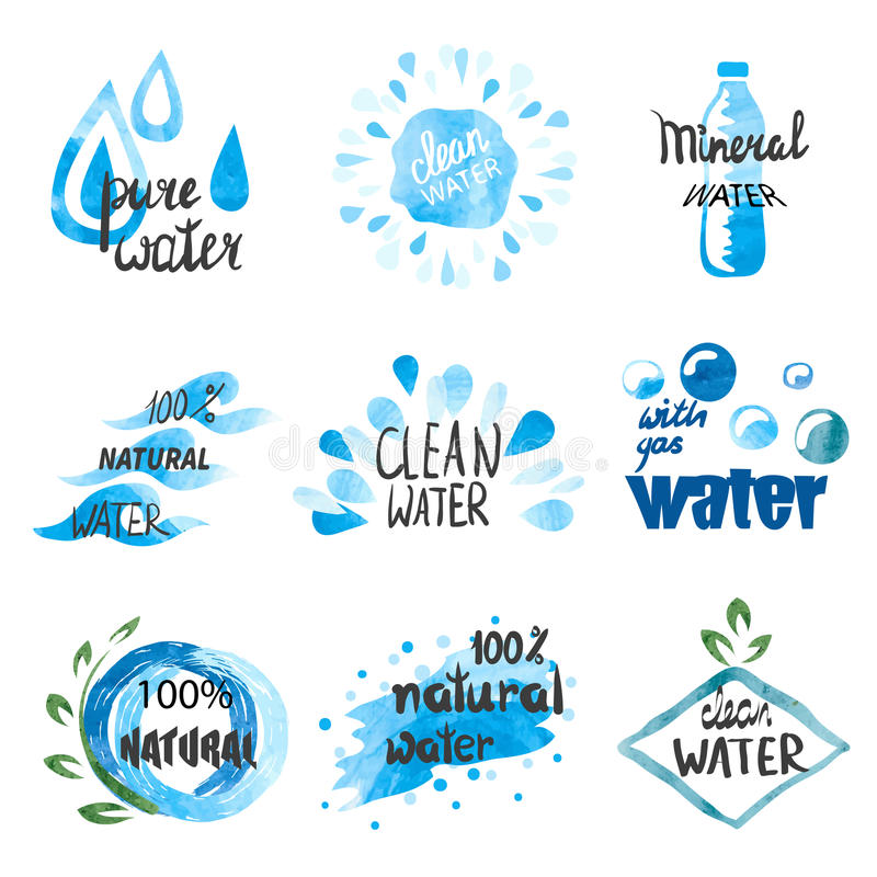 Ensemble de symboles tirés par la main d'aquarelle et signes de l'eau pure illustration libre de droits