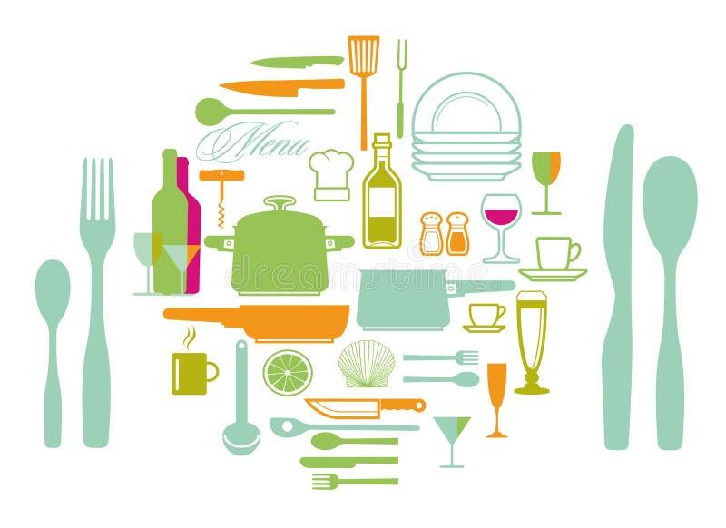 Ensemble de synbols et d'icônes d'ustensile de cuisine illustration stock