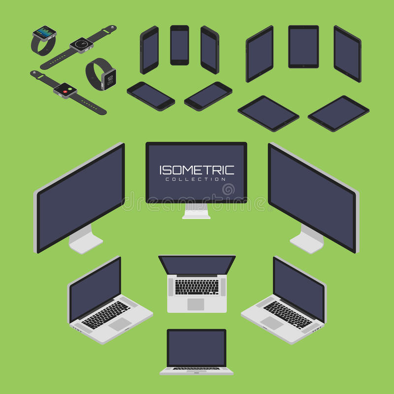 Ensemble de téléphone portable, montre intelligente, comprimé, ordinateur portable, ordinateur d'illustration réglée de graphique illustration de vecteur
