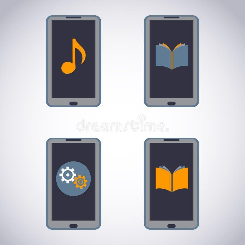 Ensemble de téléphone portable. Téléphone intelligent d'écran tactile avec l'application de media (apps, musique, ebooks). illustration libre de droits