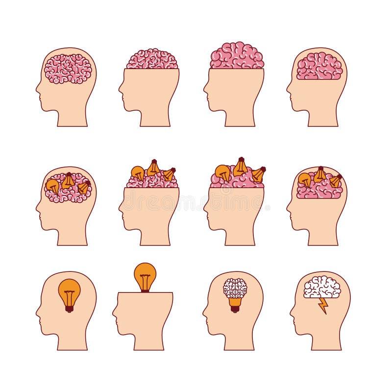 Ensemble de têtes avec des cerveaux à l'arrière-plan blanc illustration stock