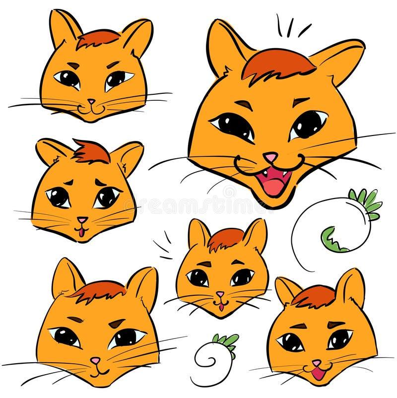 Ensemble de têtes de chat - autocollants d'émotions illustration stock