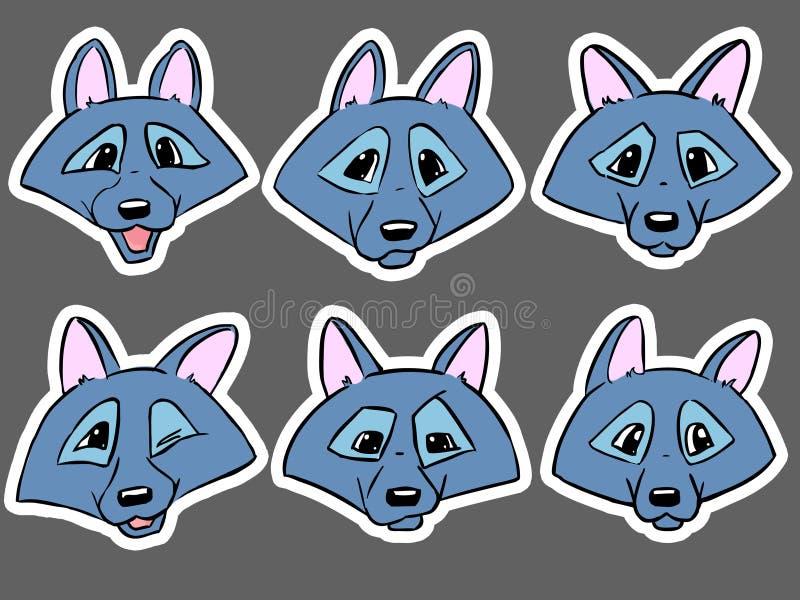 Ensemble de têtes de couleur de loup - émotions de loup illustration stock