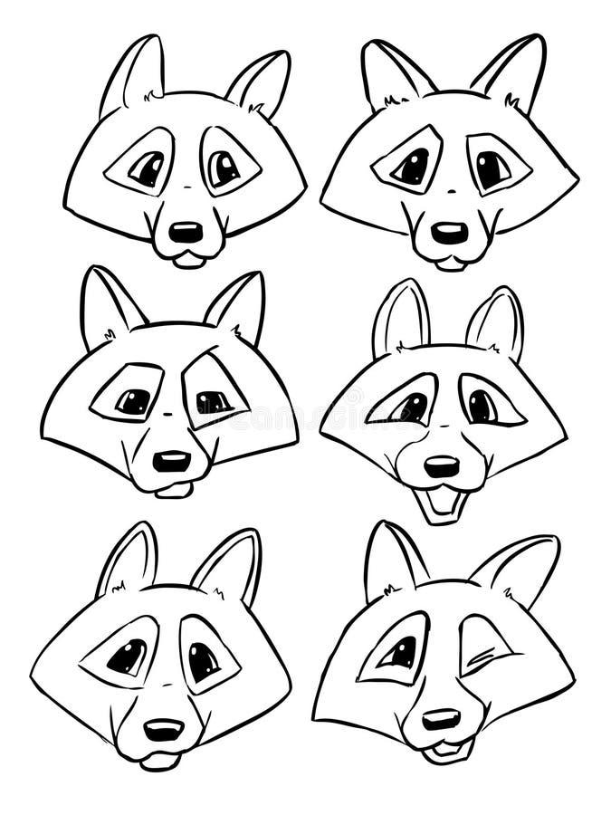 Ensemble de têtes de découpe de loup - dirigez les émotions du loup illustration de vecteur