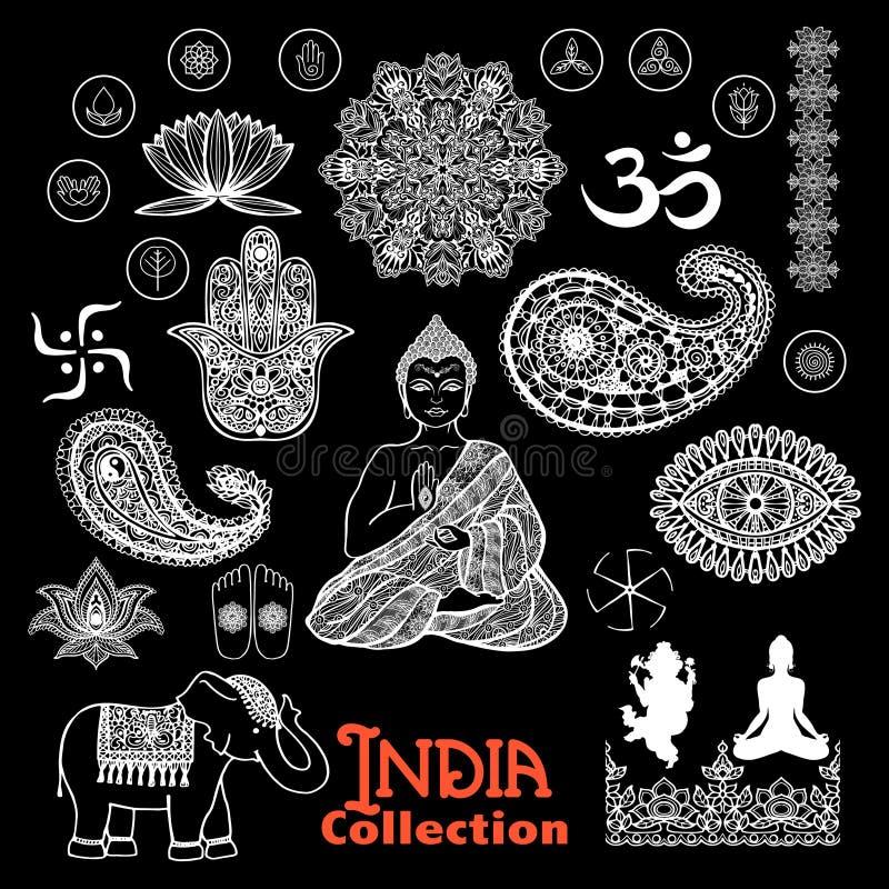 Ensemble de tableau d'éléments de conception d'Inde illustration de vecteur