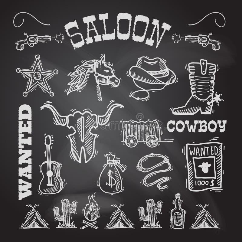 Ensemble de tableau de cowboy illustration stock