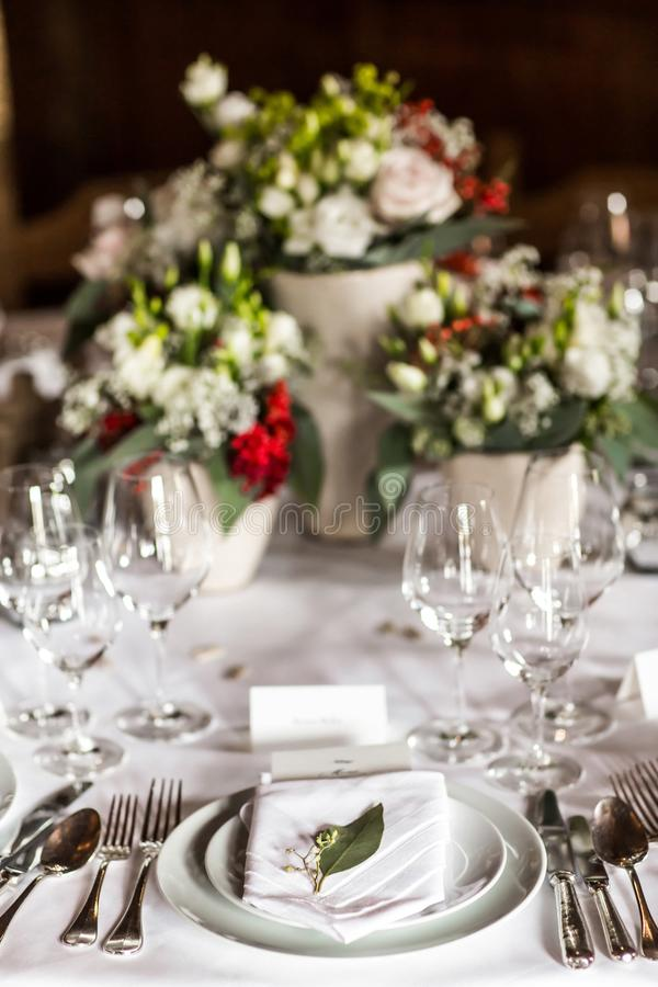 Ensemble de Tableau pour épouser ou un dîner approvisionné différent d'événement photos libres de droits